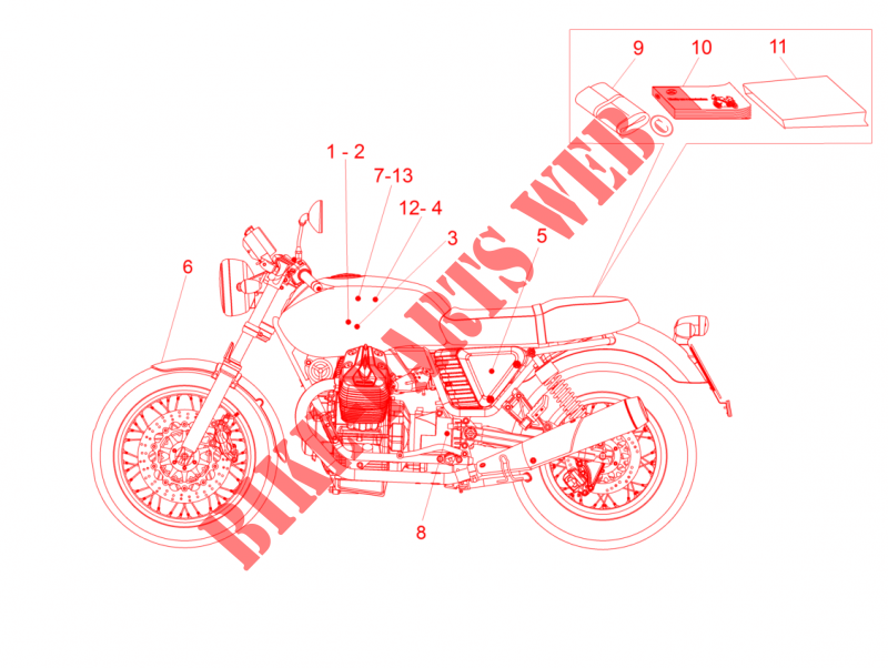 MOTO GUZZI MOTO-GUZZI-MOTORCYCLES 750 V7 2015  V7 II Special ABS FRAME Decal and plate set